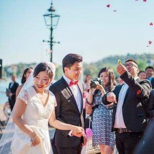 Kinesiskt bröllop, Grand Hotel Saltsjöbaden, utomhusvigsel, havet, Stockholms skärgård, bröllopsfotograf